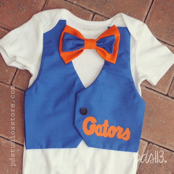 Baby Boy Florida Gators Onesie With Vest And Bowtie On