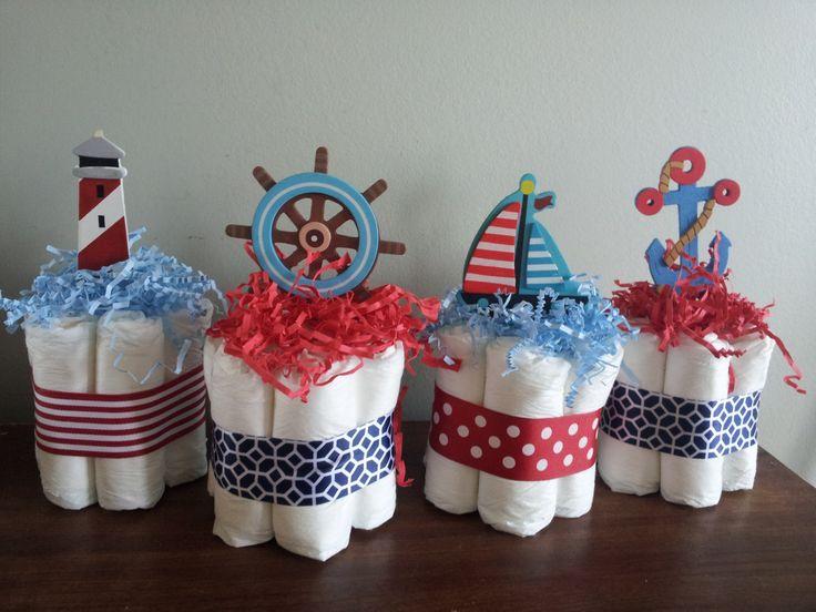 4 nautical theme mini diaper cakes baby shower centerpiece