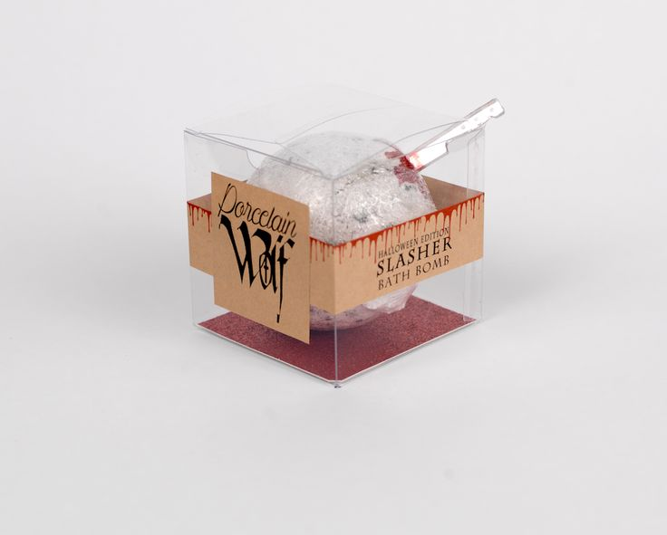 The Slasher Bath Bomb is Cranberry Harvest fragrance. When you drop this fragrant bomb into your tub, as it dissolves there's a Blood red center!...