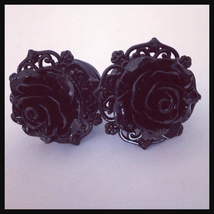 Black on Black Pinup Black Rose Plugs Custom Girly Plugs by Lovekillsboutique on Etsy https://www.etsy.com/listing/169827015/black-on-black-pinup-black-rose-plugs