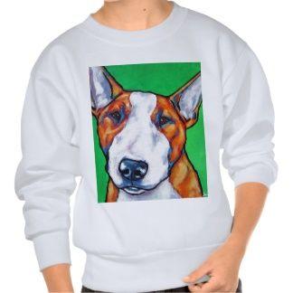 bull terrier sweatshirts | Bull-terrier anglais rouge/blanc sweatshirts