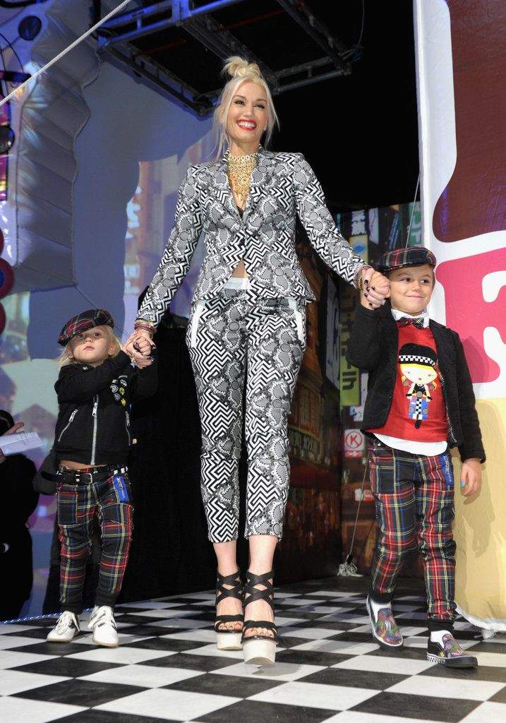 Gwen Stefani's kids Zuma and Kingston supported her at a launch party for her Target fashion line.