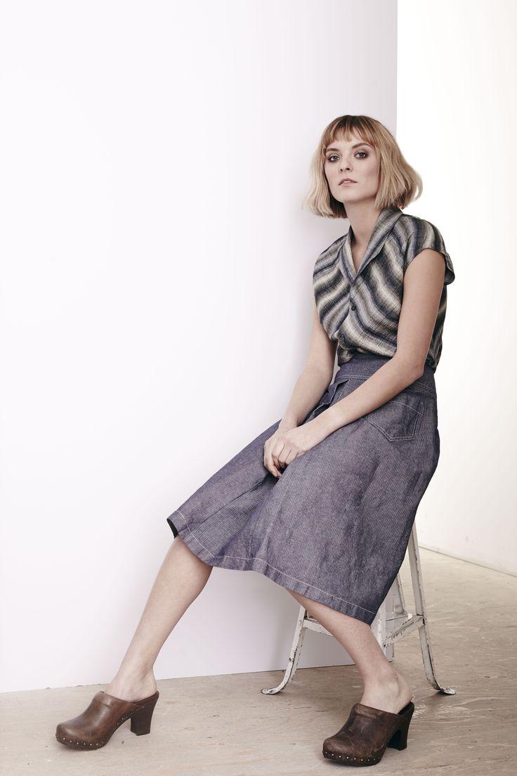 Linen Stripe Samworth Top and Washed Herringbone Reform Skirt  www.comrags.com