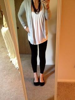 black leggings - loose white tank - gray cardigan - black flats