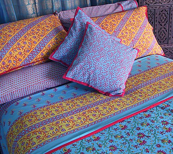 block print sheets and quilt