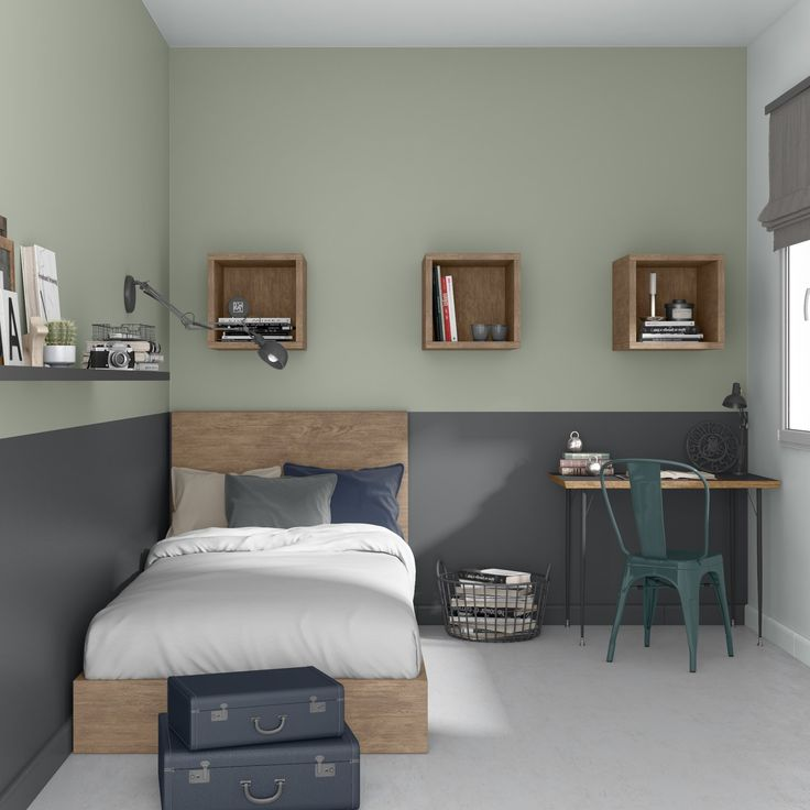 Un style au gris industriel dans un chambre d'adolescent