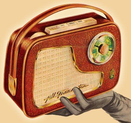 transistor radio in a gloved hand