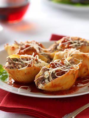 Italian Beef Stuffed Shells Marinara Recipe. Diabetic Friendly, low carb recipe from Diabetic Gourmet Magazine. DiabeticGourmet.com