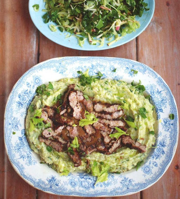 Jamie Oliver's 15 Minute Meals, Mustard Lamb. Replace potatoes with cauliflower. Use dry cider.