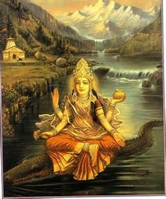 Goddess with crocodile. Akhilanda derives her power from being broken: in flux, pulling herself apart, living in different, constant selves at the same time, from never becoming a whole that has limitations.