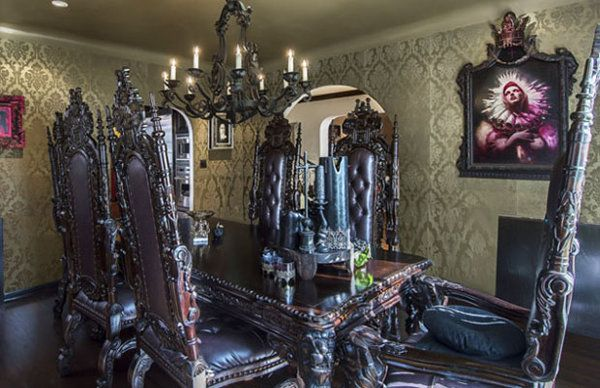 Kat Von D, house, gothic dining room, ornate dining room table, chairs, chandelier, wallpaper, candles