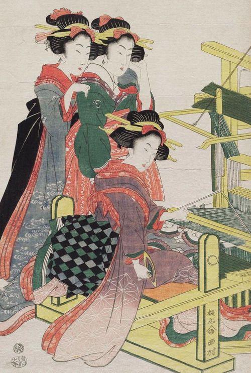 Two women observe a third weaving silk. Ukiyo-e woodblock print, about 1840's, Japan, by artist Kikugawa Eizan