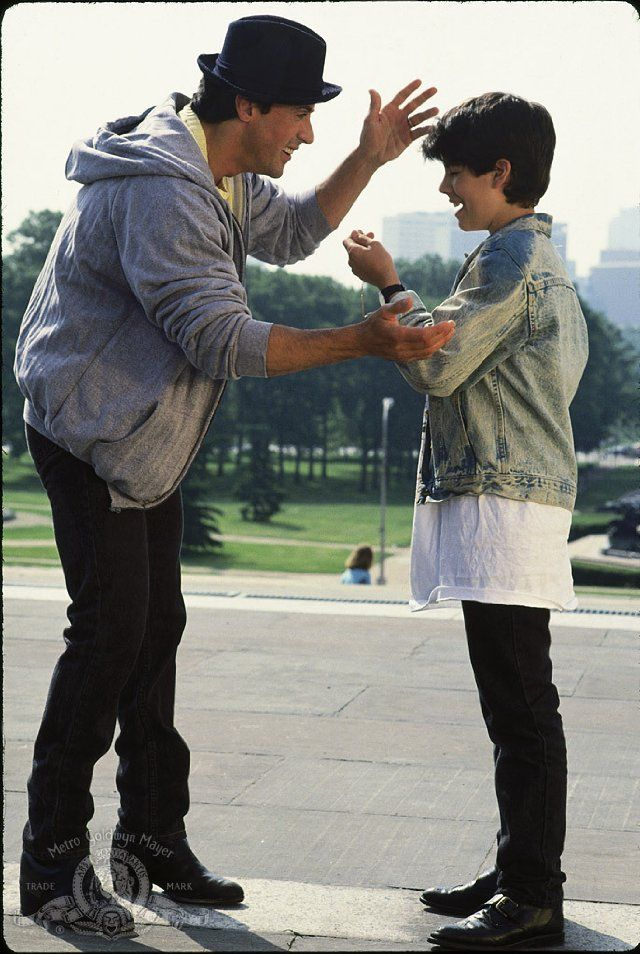 Still of Sylvester Stallone and Sage Stallone in Rocky V    fathers love.