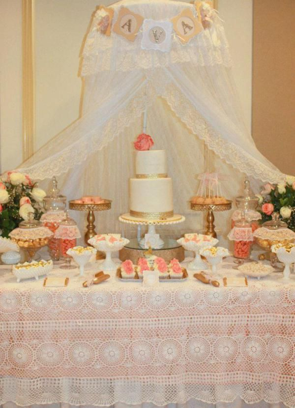 Vintage Peach and Gold baby shower via Karas Party Ideas KarasPartyIdeas.com