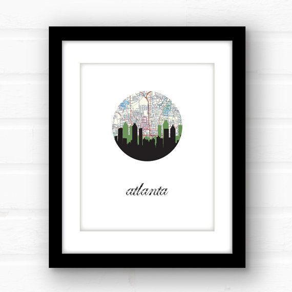 Atlanta, Georgia print featuring the Atlanta skyline and a vintage Atlanta map  So Im a little partial to Atlanta... because, well, I live here.