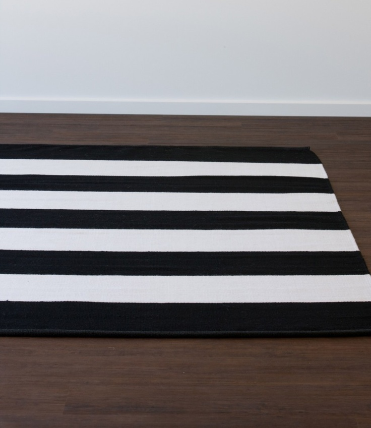 Armadillo And Co Band Stripe Rug   Black And White