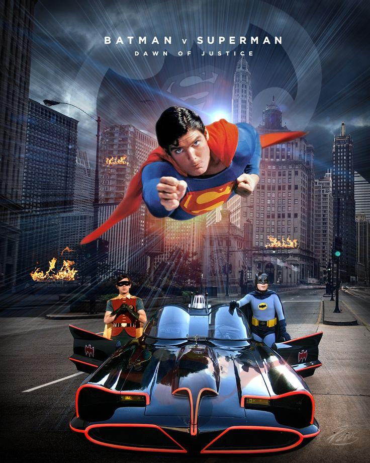Retro Batman vs Superman with Adam West, Christopher Reeve and Burt Ward.