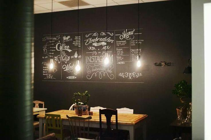 Greatest café in town. #café #coffee #blackboard #painting #wall #black #interior #reuse #coffeeshop #lamp #retro
