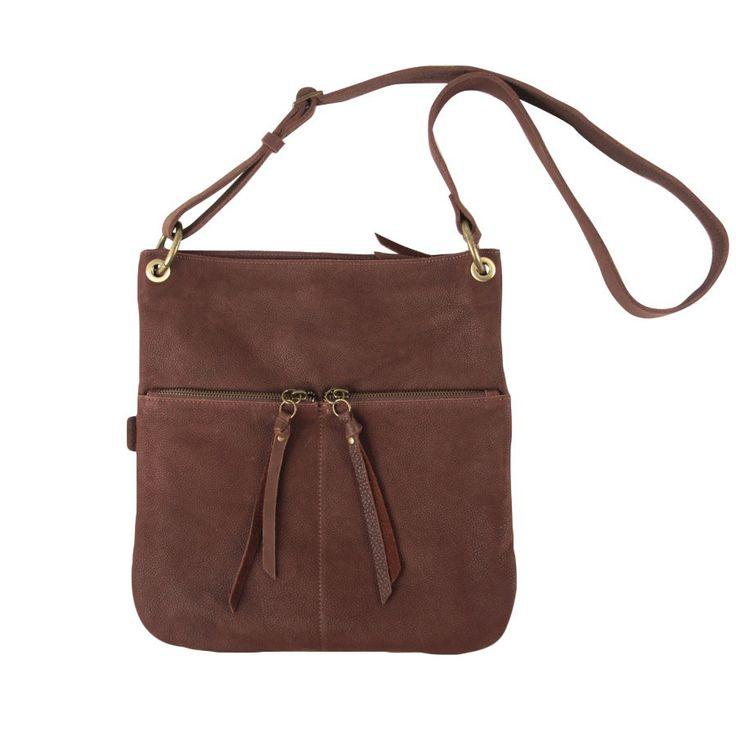 Label 88 grote leren tas Soho 2-pocket chocolat brown - lekker veel vakken!