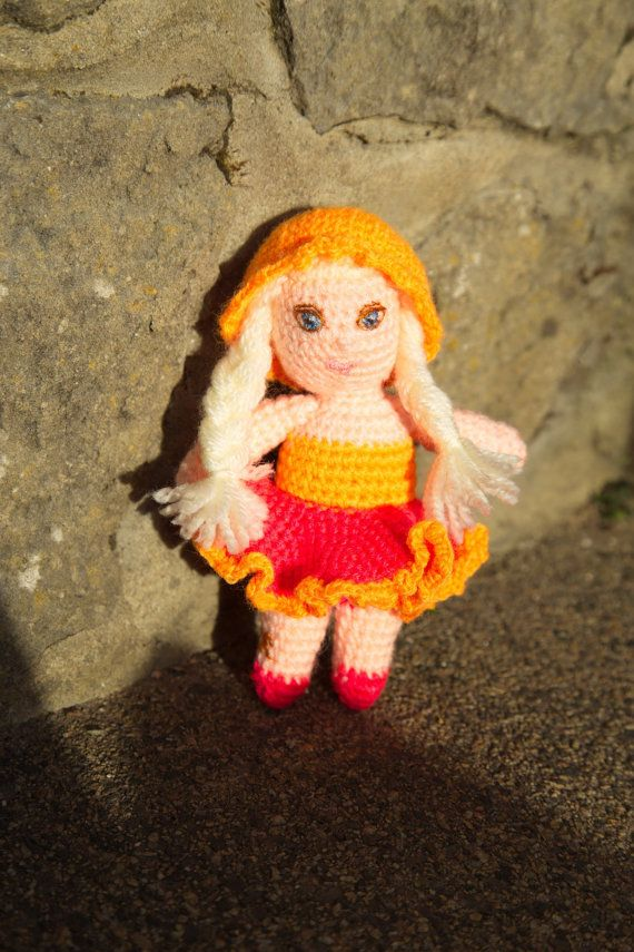 Crocheted unique Little Miss Blonde Ava doll twofaced by Irera