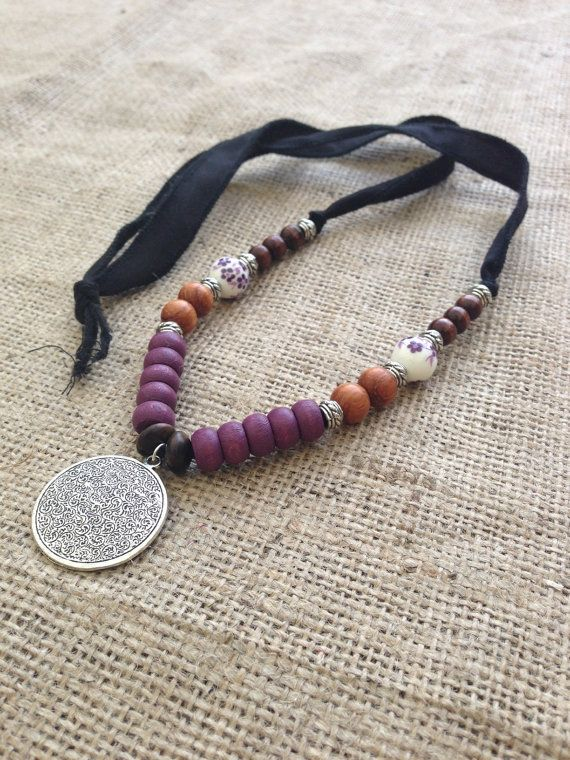 Long Bohemian Silk Necklace with Travelers Prayer by gypsykicks..Reasonable prices toooo