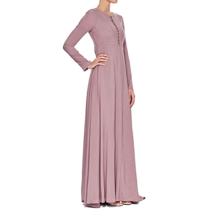 Casual Ladies Womens Beautiful Elegant Islamic Wear Abaya Jilbab Hijab Muslim Dress knitted cotton muslim  dress long