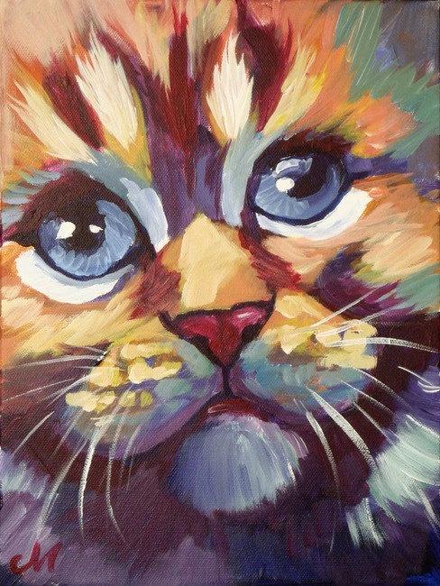 Cat Painting Art Reproduction Print--Small. $30.00, via Etsy.