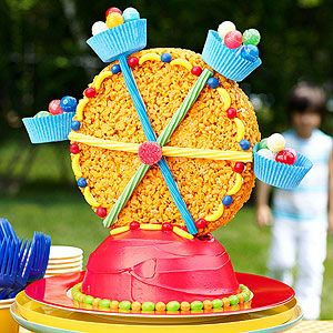 A crispy marshmallow and cereal treat makes the Ferris wheel for this fun dessert. Candy makes it colorful.
