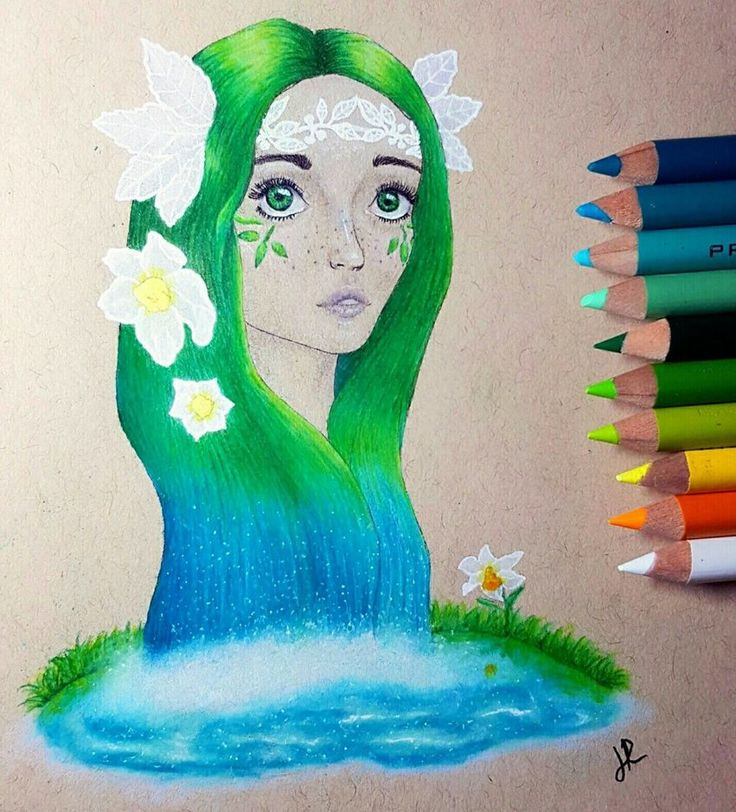 Inspired by the Greek myth of Echo and Narcissus. Drawn with prismacolor premiere colored pencils #echo #narcissus #prismacolor #nymph #greekmythology