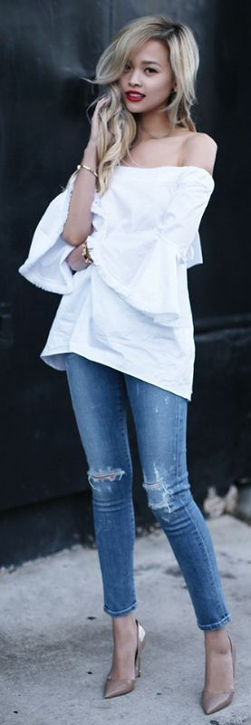 Distressed denim jeans + spring + Lina Dinh + awesomely minimalistic style + pair of distressed jeans + oversized white off the shoulder top   Top: Nicholas, Jeans: Citizens of Humanity, Bag: Loewe, Shoes: Kurt Geiger London....   Style Inspiration