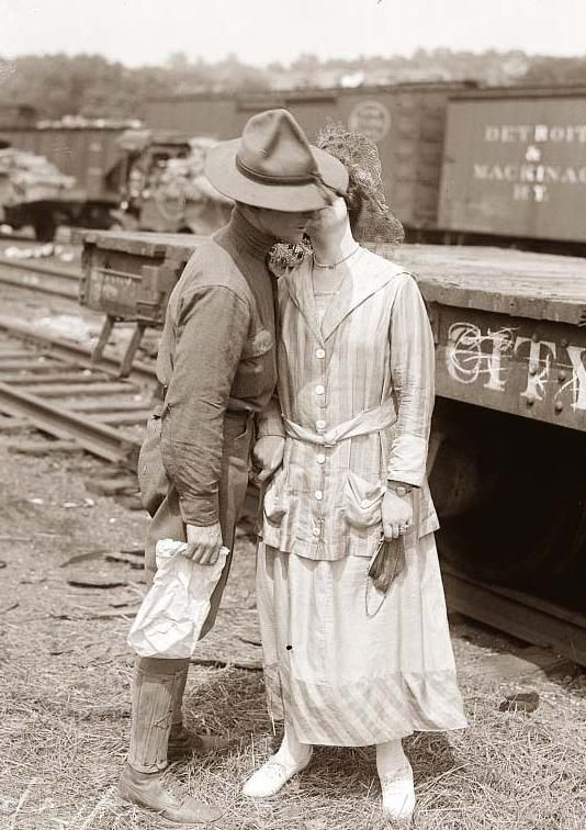 This picture shows a woman bidding her boyfriend goodbye, as he leaves to fight in World War I. 1914.