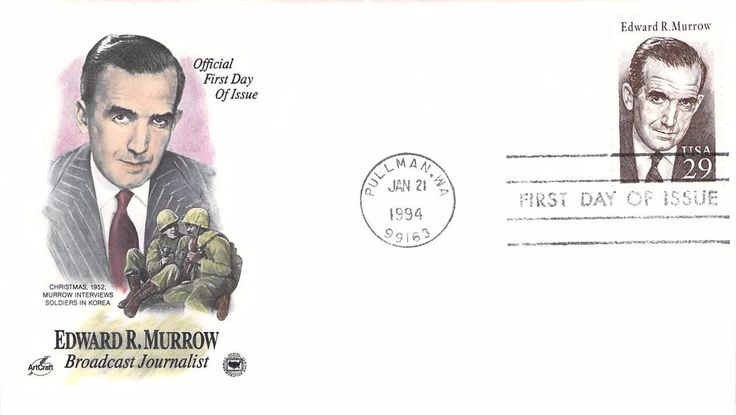 1994 Edward R. Murrow Hand Colored Art Craft First Day Cover