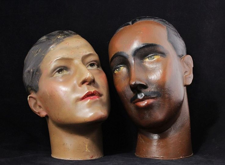 2x vintage 1930 s Wax Head of male mannequin figure.