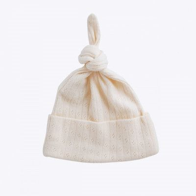 Nature Baby Natural Pointelle Knotted Beanie $19.95.