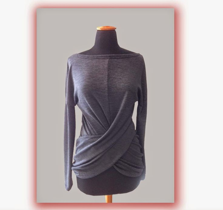 Blouse with draped in front pannel - knitted fabric