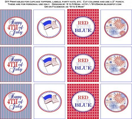 "Celebrate July 4th - Free Printables -  invitations, party circles, tented cards, drink straw flags, favor tags, sparkler holders with directions, matchbox covers, ""Let Freedom Ring"" banner."