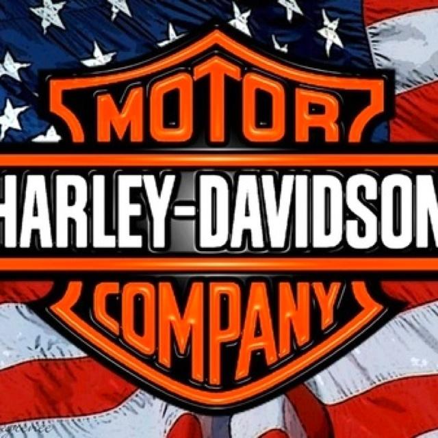 American flag w/Harley shield
