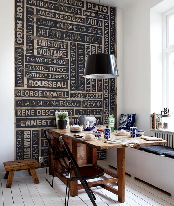 WHAT A COOL THING to do for an office ... or just my home!  Perfect for those who write, read and work with books.: Wall Patterns, Wall Art, Ideas, Author Wall, Interiors Design, Writers, Books Nooks, Accent Wall, Offices Wall