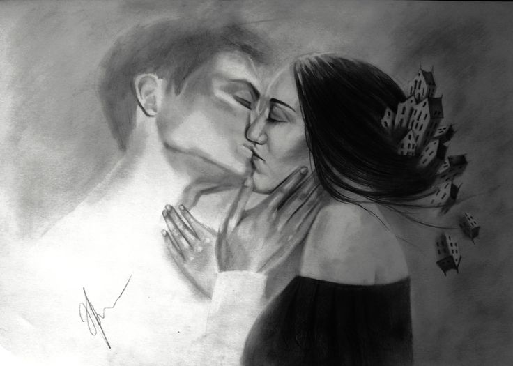 Yhe Night and the Day #illustration #graphic #pencildrawing #kissing #thekiss #art #surrealism #fantasy