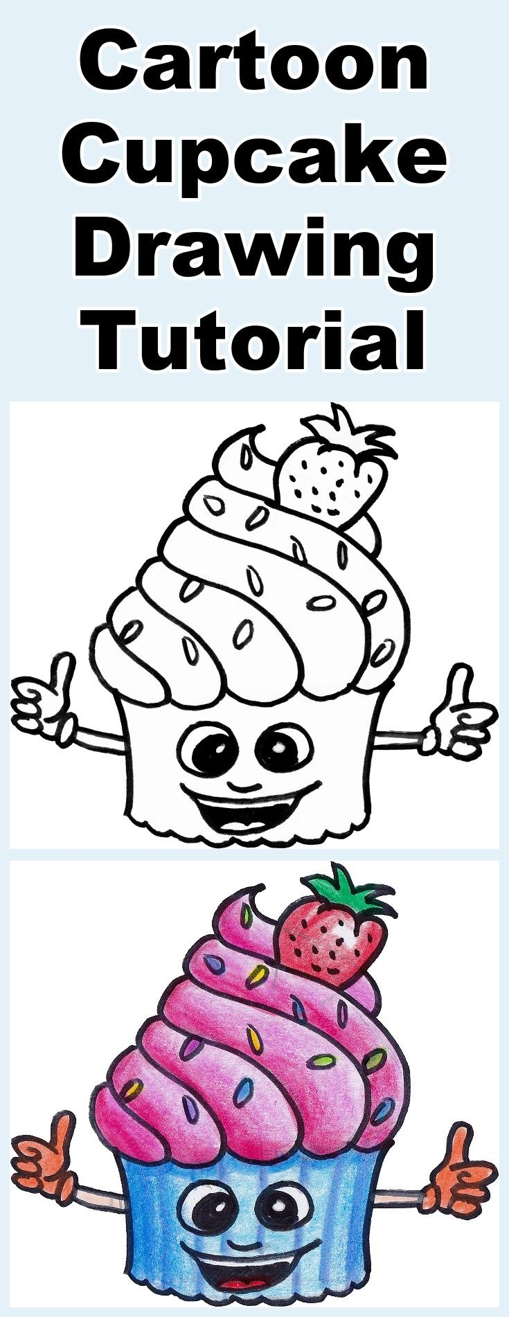 Follow the video as you learn how to draw and then color this cute cartoon cupcake. Includes a free downloadable coloring page.