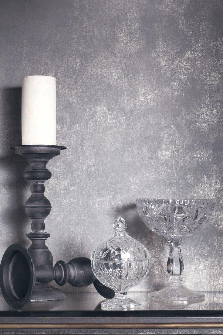 Tapete Deeper Grau - Metallischer Silberschimmer auf Grau schmückt