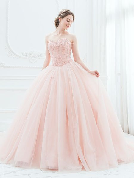 Cinderella & Co.  (シンデレラ・アンド・コー)  スモーキーピンクが大人の愛らしさ。ふんわりチュールのカラードレスSS5982SP