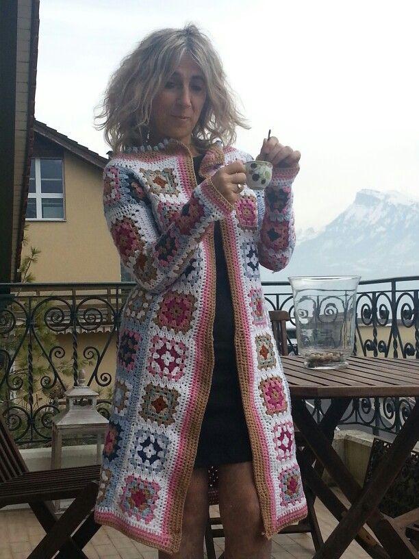 Granny square coat - crochet