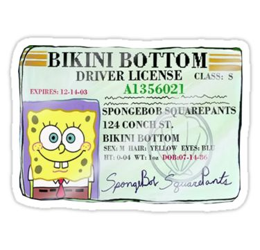 spongebob's driver's license | Sticker in 2019 | Stickers ...