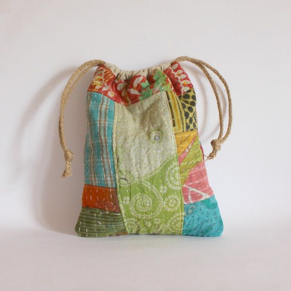 Drawstring bag patchwork kantha red pnk greens by roxycreations