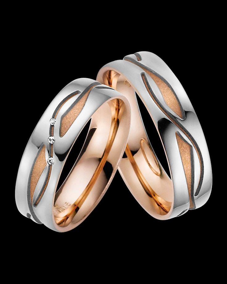 Βέρες Rauschmayer δίχρωμες ροζ χρυσός-λευκόχρυσος Κ8/palladium 500° με Διαμάντια | eleftheriouonline.gr