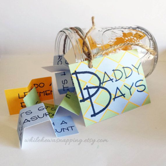Encourage your kids and their daddy to spend some quality time together with the Daddy Days jar. Fun activities that they can do together - and give momma a little break.