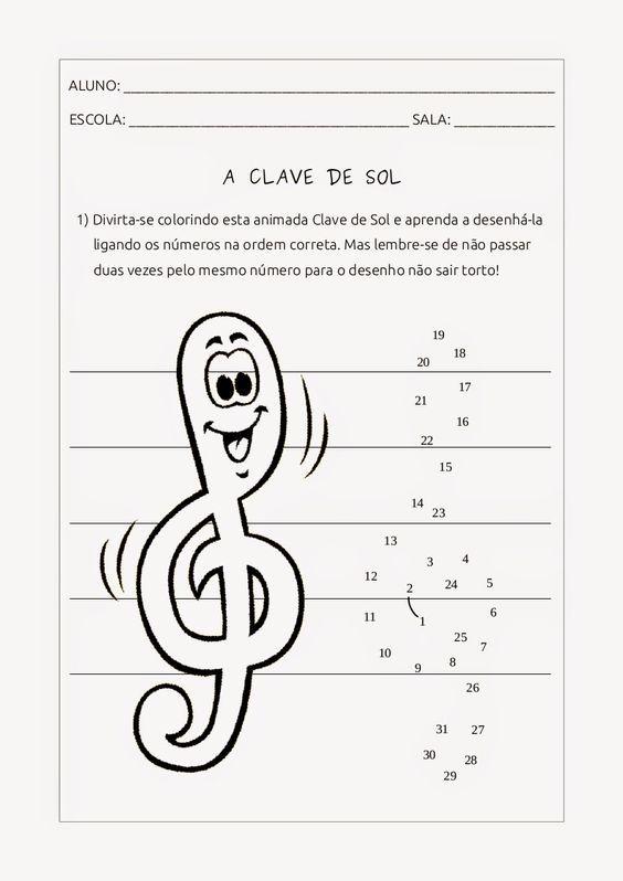 Clave de Sol - para colorir e ligar os pontos: