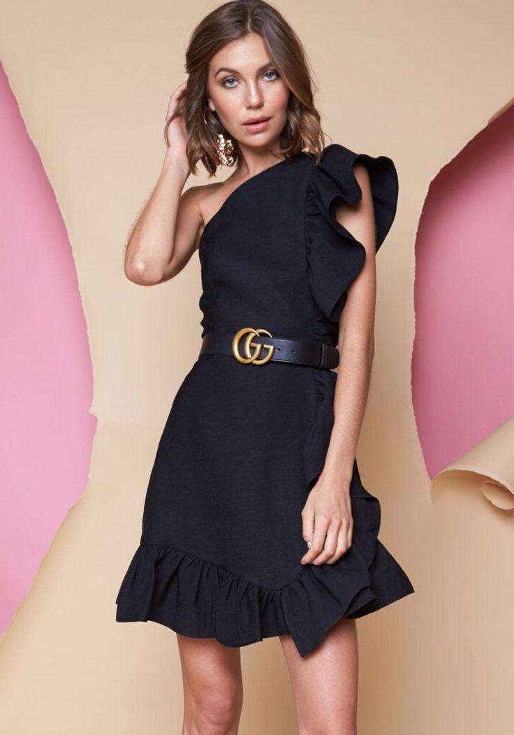Pink Stitch - Ps The Label Heart Lines Midi Dress - Black