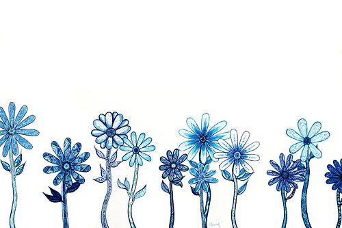 Pen Art: A2 blue flower pen drawing by Sarah Jansma